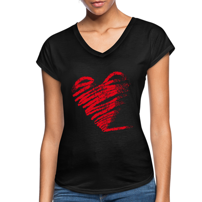 Scribble Heart Women's Tri-Blend V-Neck T-Shirt-Women's Tri-Blend V-Neck T-Shirt-PureDesignTees
