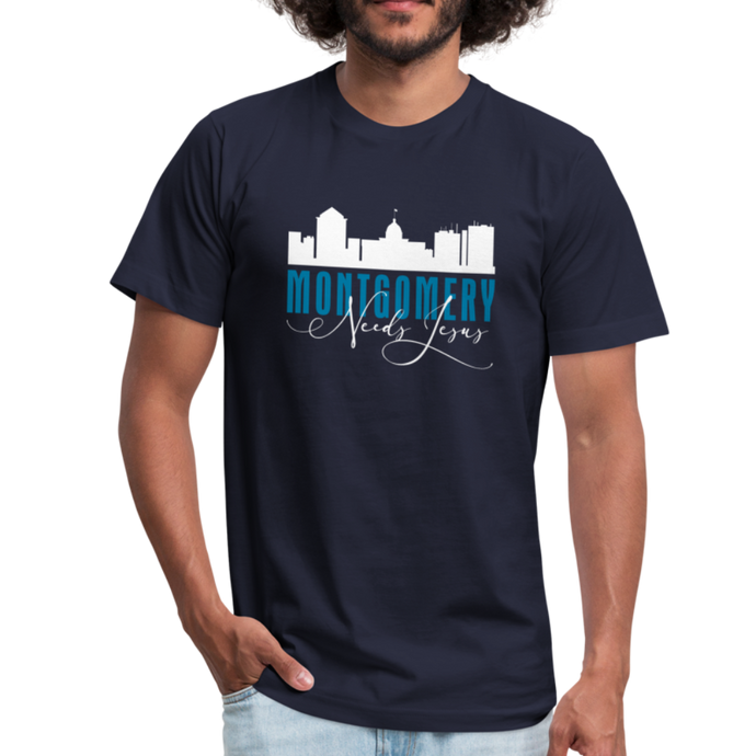Montgomery (Alabama) Needs Jesus Jersey T-Shirt by Bella + Canvas-Unisex Jersey T-Shirt | Bella + Canvas 3001-PureDesignTees