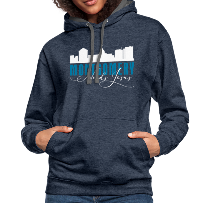 Montgomery (Alabama) Needs Jesus Contrast Hoodie-Unisex Contrast Hoodie | Fruit of the Loom SF76R-PureDesignTees
