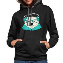 Load image into Gallery viewer, Cool Polar Bear with Headphones Contrast Hoodie-Unisex Contrast Hoodie | Fruit of the Loom SF76R-PureDesignTees