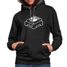 Load image into Gallery viewer, Retro Pixel Turntable Record Player Contrast Hoodie-Unisex Contrast Hoodie | Fruit of the Loom SF76R-PureDesignTees