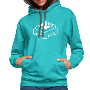 Retro Pixel Turntable Record Player Contrast Hoodie-Unisex Contrast Hoodie | Fruit of the Loom SF76R-PureDesignTees