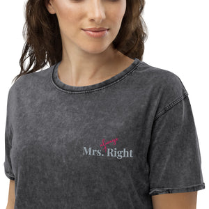 Mrs. Always Right Embroidered Denim T-Shirt-PureDesignTees