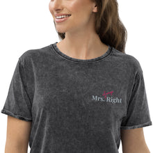 Load image into Gallery viewer, Mrs. Always Right Embroidered Denim T-Shirt-PureDesignTees