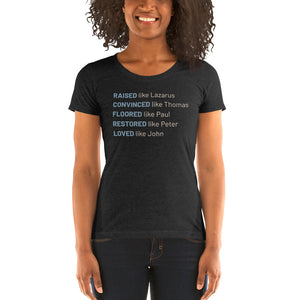 Raised Like Lazarus Ladies' short sleeve t-shirt-Ladies T-shirt-PureDesignTees