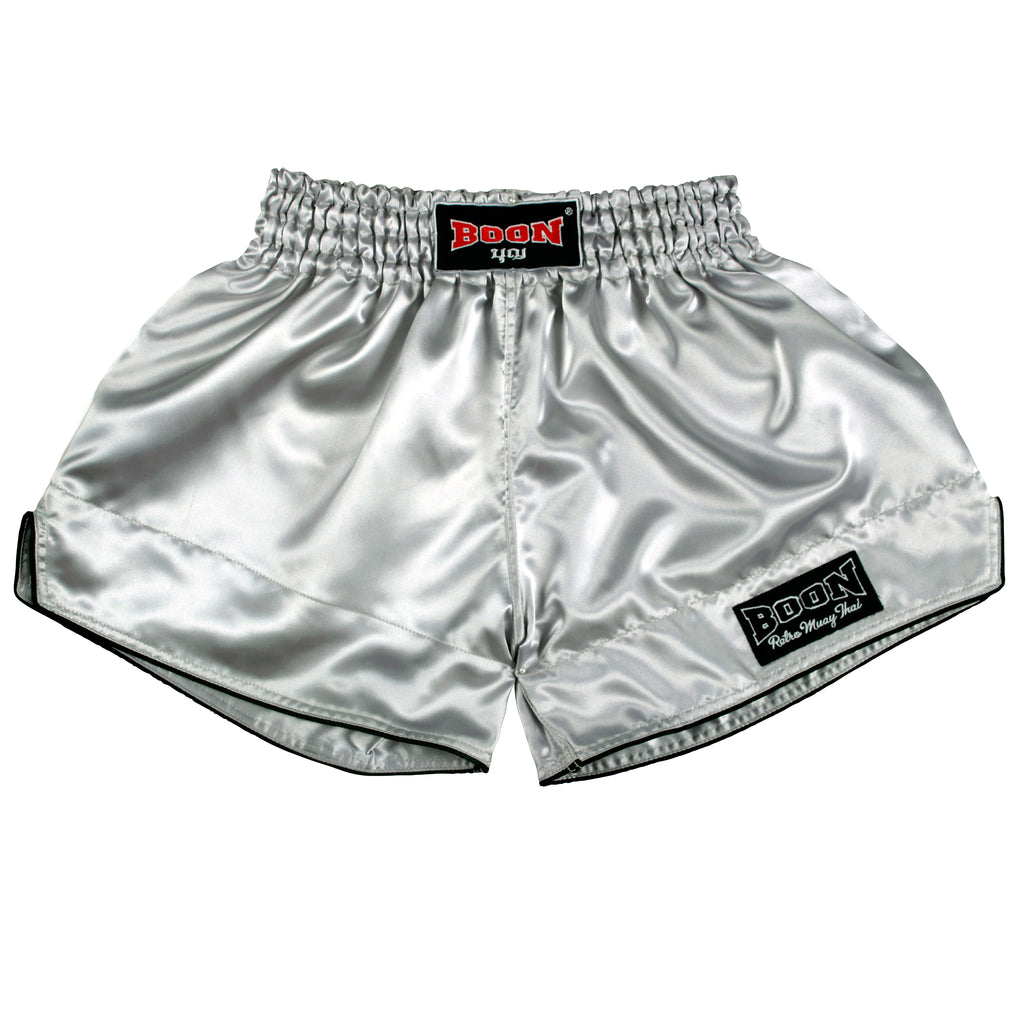 RSSV Retro Muay Thai Shorts SILVER