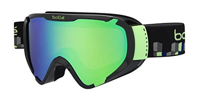 Bolle Explorer Goggles, Shiny Black Cubes, Green Emerald Lens