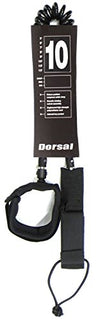 DORSAL Premium SUP Leash 10' COILED by - Double Stainless Steel Swivels and Triple Rail Saver