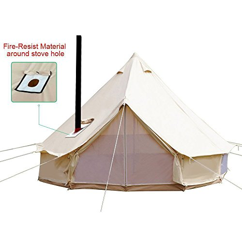 new styles 67cb1 ec907 Playdo 4-Season Waterproof Cotton Canvas Large Family Camp Bell Tent  Hunting Wall Tent with Roof Stove Jack Hole for Camping Hiking Party, Beige  Color ...