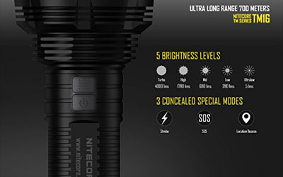 EdisonBright Nitecore TM16 4000 Lumen CREE LED Tiny Monster Flashlight, D4 smart charger, 4 X Nitecore NL189 18650 3400mAh with AA alkaline batteries sampler bundle