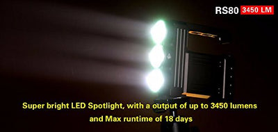 Klarus RS80-3XML2-BK 3450 Lumen Rechargeable LED Spotlight with Cree U2 LED, Black, Left/Right