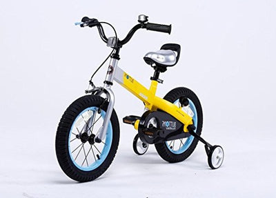 12-Inch Yellow Matte Buttons Kids Bike With Training Wheels Perfect Gift For Kids, Dimensions 35x19x25