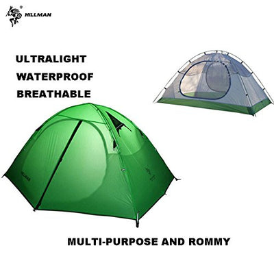Hillman Tent, 2 Person, 3 Season, 20D Double Layer Silicone Portable Lightweight Durable Waterproof Windproof