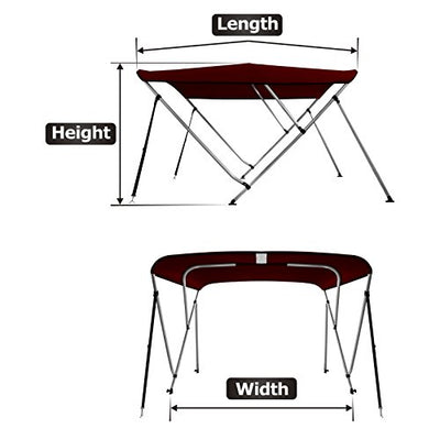 "MSC Standard 3 Bow Bimini Boat Top Cover with Rear Support Pole and Storage Boot (Burgundy, 3 Bow 6'L x 46""H x 61""-66""W)"