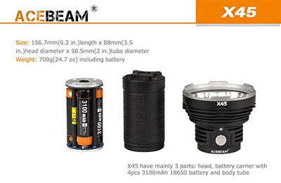 Acebeam X45 CREE XHP70 LED Flashlight -16,500 Lumens -Beam Distance of 583 meters +Andrew & Amanda Keychain Light
