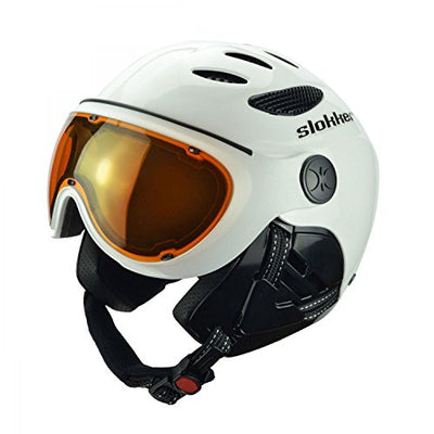 Slokker Raider Ski Helmet with Attached Photochromatic Polarizing Goggles (Black, 60-62)
