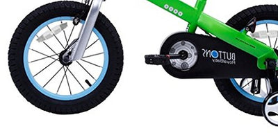 12-Inch Green Matte Buttons Kids Bike With Training Wheels Perfect Gift For Kids, Dimensions 35x19x25