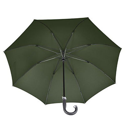 LifeTek Kingston Large Cane Umbrella 54 Inch Full Size Automatic Open Stick Umbrellas for Sports Golf Extra Strong Windproof Frame 210T Fabric Waterproof Teflon Rain Repellant Protection Classic Green