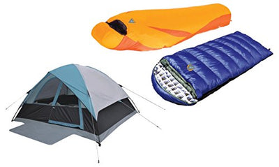 High Peak USA Alpinizmo 6 Ultra Lite Latitude 20F & Kodiak 0 Sleeping Bags Combo Set, Blue/Orange, One Size