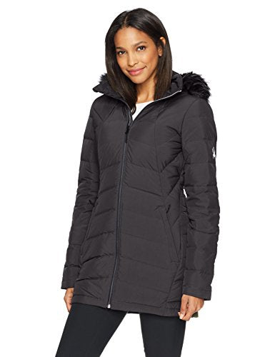 Spyder Women's Syrround Long Faux Fur Down Jacket, Black, Medium