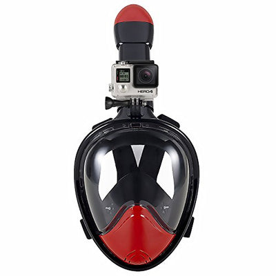 WSTOO 180° Full Face Snorkel Mask-With Anti-Fog Anti-Leak Snorkeling Design,See More Water World Larger Viewing Area(Red+Black,L)