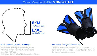 Ocean View Snorkel Set - Full Face Snorkeling Mask with Adjustable Diving Fins …