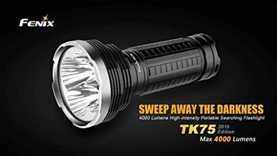 FENIX TK75 L2 2900 Lumen Triple CREE XM-L2 U2 LED Flashlight/Searchlight with Eight Genuine Fenix ARB-L2 18650 Batteries, Fenix AER-TK75 Extender Tube, Battery Magazine, Two Fenix ARE-C1 battery Chargers and EdisonBright battery sampler package