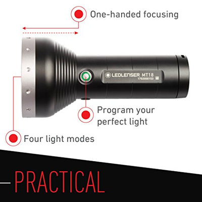 Ledlenser 3000 Lumens, MT18 Flashlight with Rapid Focus System
