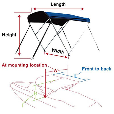 Leader Accessories 10 Colors 3 Bow Bimini Top Boat Cover Includes Mounting Hardwares with 1 Inch Aluminum Frame