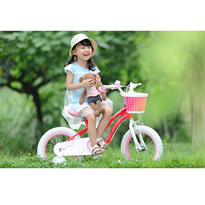 Bicycles for Girls 12 inches of RoyalBaby Stargirl with Training Wheels and Basket, Available in Pink or Blue Color, Perfect for Outdoor