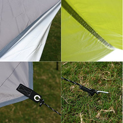 HILLMAN 5-8 Person Camping Tarp Rain Fly Tarp Outdoor Portable Easy To Set Up Canopy Hammock Tarp Lightweight Waterproof Sun Shade Shelter tent Tarp Gazebo Tent (Blue&Grey)