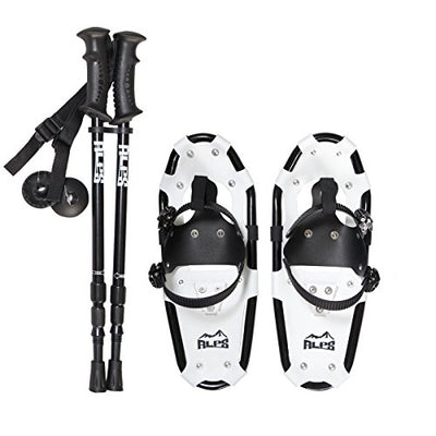 ALPS Light Weight Snowshoes for Kids, Boys & Girls & Pair Retractable Anti Shock snowshoes pole (14 INCHES)