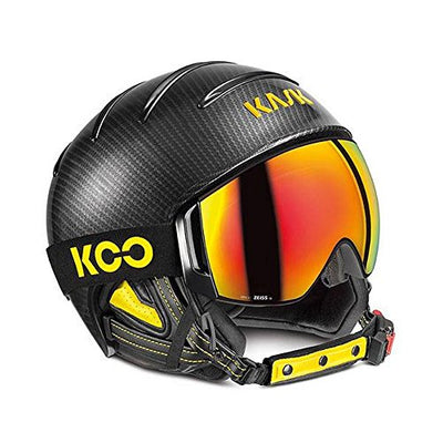 Kask Combo Elite Pro Ski Helmet - Carbon/Black Yellow with Red Mirror/Sonar Cloudy 62