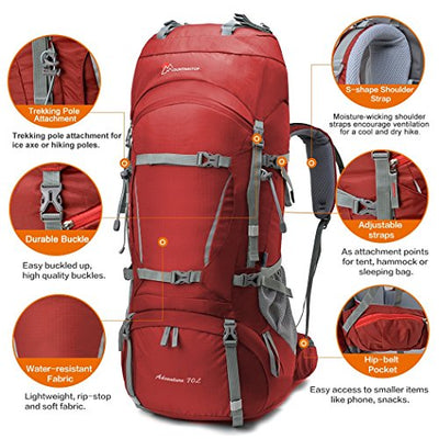 Mountaintop 70L+15L Internal Frame Backpack with Rain Cover