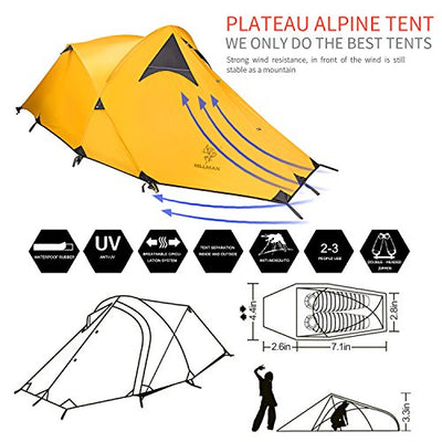 HILLMAN Portable Double Aluminum Bar Coated silicon Stronger Wind Resistance Tent (yellow)