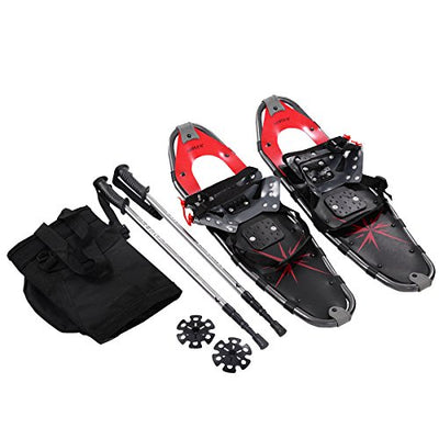 Goplus All Terrain Sports Snowshoes with Anti-Shock Adjustable Poles&Free Carrying Bag for Adults 27'' (Red)