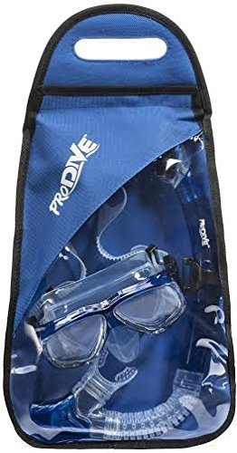 ProDive Dry Top Snorkel Set with Tempered Glass Diving Mask, Watertight and Anti-Fog Lens and Waterproof Gear Bag