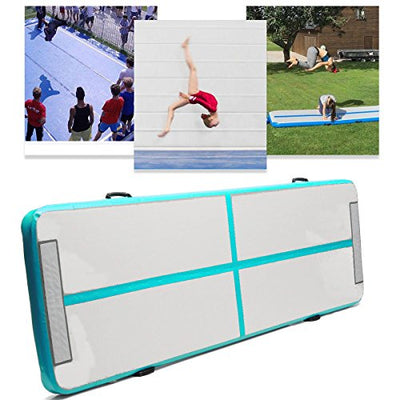 Winnerbe 118x35x4inch Inflatable Air Track Floor Home Gymnastics Tumbling Mat GYM Double-Sided Pattern Green