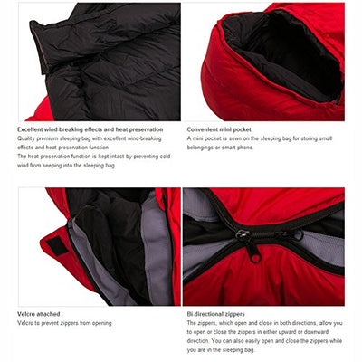 Galaxy Mummy Type Goose Down 90% Sleeping Bag 1500g Down Fabric Camping Portable Waterproof Winter (Red)