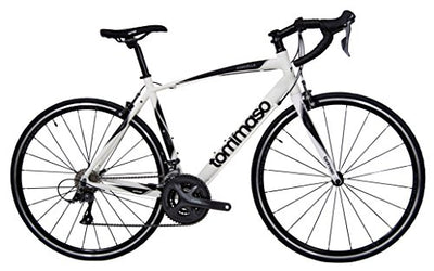 Tommaso Forcella Endurance Aluminum Road Bike, Carbon Fork, Shimano Claris R2000, 24 Speeds, Aero Wheels - Matte White - Small