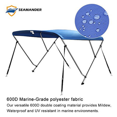 Seamander 3 Bow Bimini Tops for Boats,Boat Canopy Cover Top with Mounting Hardware