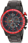 GV2 by Gevril Scuderia Mens Chronograph Swiss Quartz Alarm GMT Black Stainless Steel Sports Racing Watch, (Model: 9906)