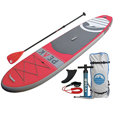 PEAK Inflatable Stand Up Paddle Board with Adjustable Paddle, Travel Backpack and Coil Leash, 128 x 31 x 6-Inches, Red