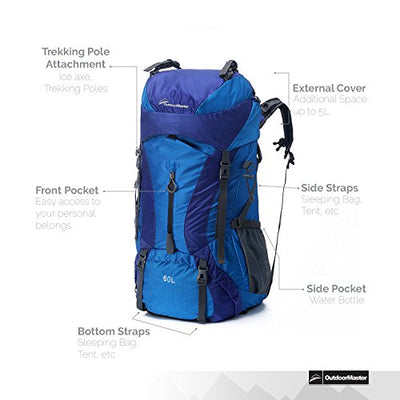 OutdoorMaster Hiking Backpack 60L - Internal Frame w/ Waterproof Rain Cover for Hiking, Travel, Camping