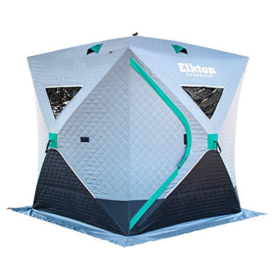 Elkton Outdoors Insulated Portable 3-Person Insulated Ice Fishing Tent With Ventilation Windows & Carry Pack: Ice Fishing Shelter Includes Tent, Carry Pack, Ice Anchors & Storage Compartments!