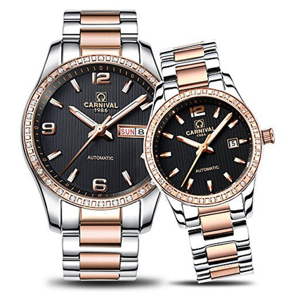 CARNIVAL Couple Watches Men and Women Automatic Mechanical Watch Chic Dress for Her or His Set of 2 (Rose Gold Black)