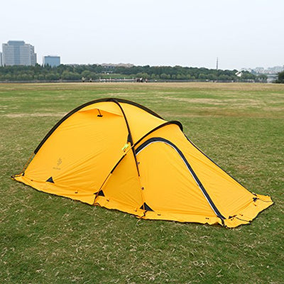 HILLMAN 2-Person 4-Season 20D Double Layer Silicone Ultralight High-altitude Outdoor Camping Tents (Yellow)