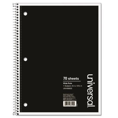 1 Subject Wirebound Notebook, 10 1/2 X 8, Wide Rule, 70 Sheets, Black Cover
