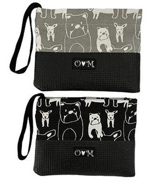 Sara Black & Grey Dog Print Clutch Purse