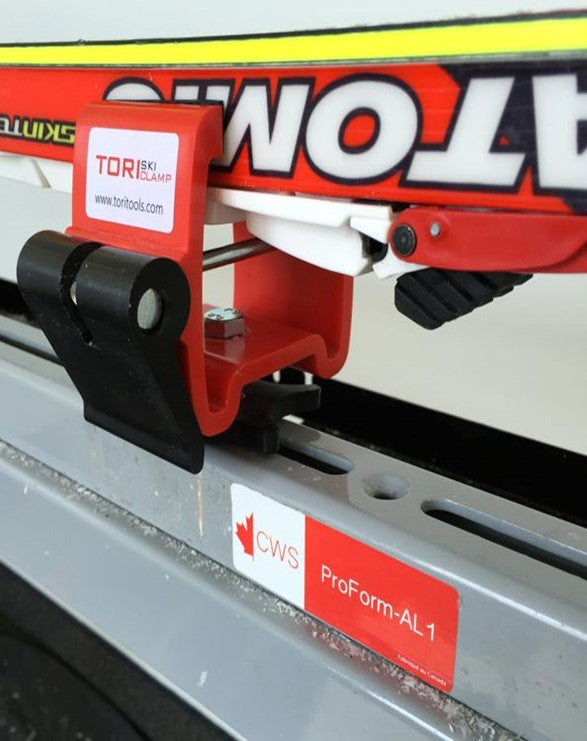 Tori Ski Tools Clamp attached to the Canadian Winter Sports ProForm-AL1
